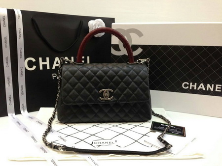 New! Chanel Small Coco  Handle Bag black caviar lizard handle สีดำ หูหิ้วหนังจิ้กจกค่ะ 9.8 inch