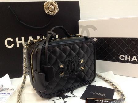 Chanel Vanity Case 7 inch in Black Caviar GHW Holo สีดำ