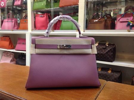 HERMES Glycine KELLY 32 cm Togo Leather in  Lilac Purple  สีม่วงอ่อนอะไหล่เงิน