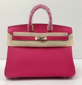 Hermes Birkins Rose Tyrien Shw 25 cm in Togo leather Silver hardware Top mirror image 7 stars