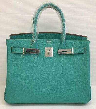 Hermes Birkins 30 cm สีฟ้า Blue Lagoon Togo leather with Silver hardware Top mirror image 7 stars