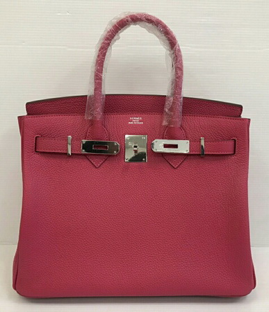Hermes Birkins 30 in Rose tyrien Togo leather with Silver hardware Top mirror image 7 stars