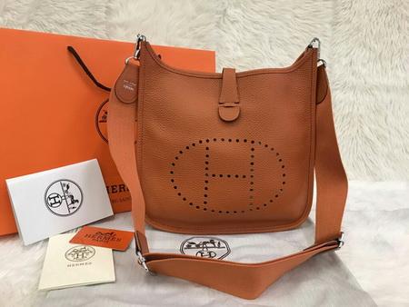 Hermes Evelyne III PM Bag in Orange สีส้ม Togo leather Top mirror image 7 stars