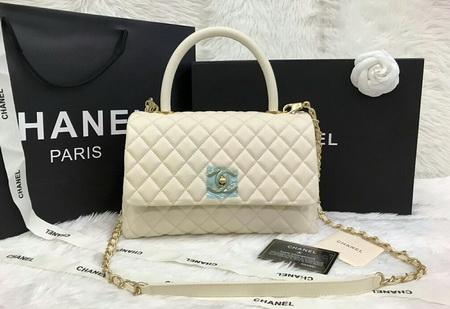 Chanel Small Coco Handle Beige Cavier Leather สีเบจหนังคาร์เวียร์ค่ะ