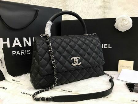 Chanel Medium Coco Handle Bag Cavier Leather สีดำหนังคาร์เวียร์อะไหล่เงินค่ะ