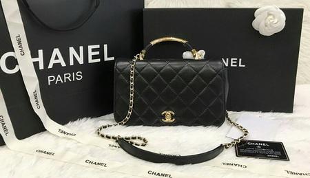 Chanel Top Handle Flap Bag Lambskin and Gold Tone Metal  สีดำหนังแกะโซ่ทองค่ะ 9.8 inch