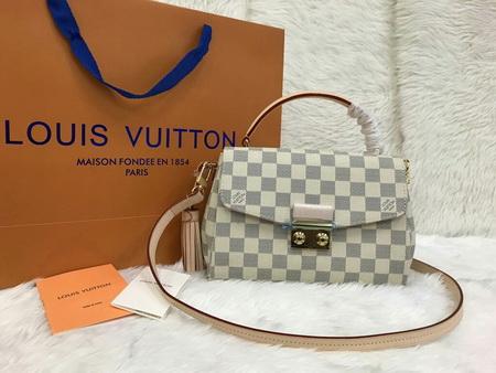 Louis Vuitton Damier Azur Canvas CROISETTE N41581 Top Mirror Image 7 stars