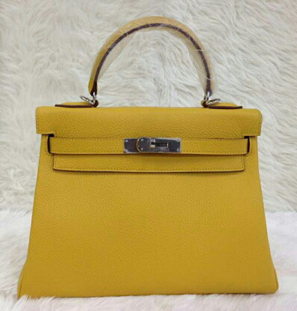 HERMES KELLY 28 cm Togo Leather Top Mirror image 7 stars สีเหลือง curry