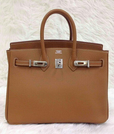 Hermes Birkins 25 สีน้ำตาล Gold Togo leather with Silver hardware Top mirror image 7 stars