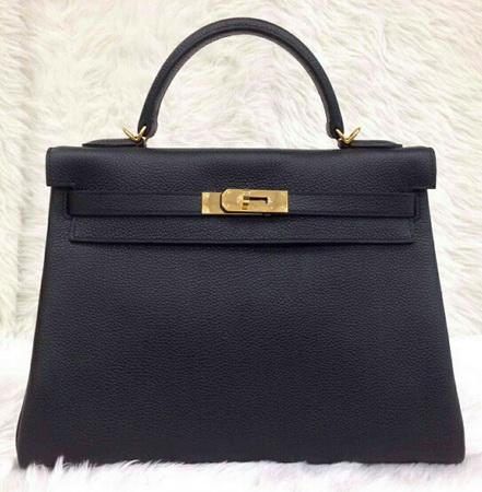 HERMES  KELLY 32 cm Togo Leather in Black  สีดำอะไหล่ทอง