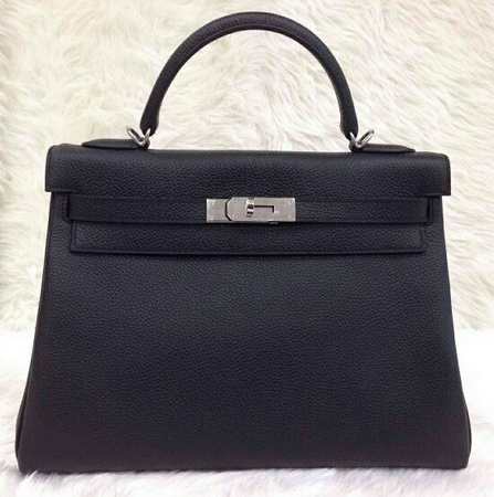 HERMES  KELLY 32 cm Togo Leather in Black  สีดำอะไหล่เงิน
