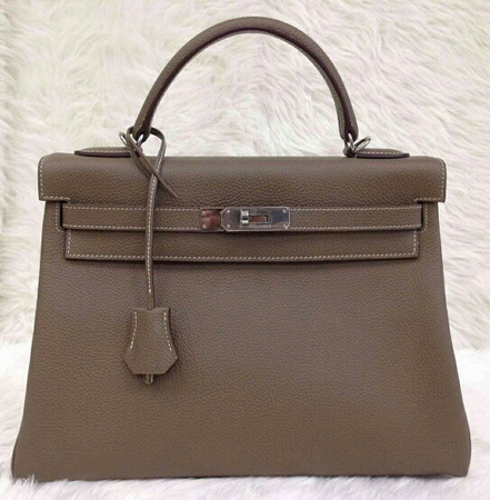 HERMES KELLY 32 cm Togo Leather Top Mirror image 7 stars in Etoupe อะไหล่เงิน