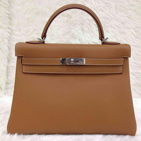 HERMES KELLY 32 cm Togo Leather Top Mirror image 7 stars in Gold สีน้ำตาลทองอะไหล่เงิน