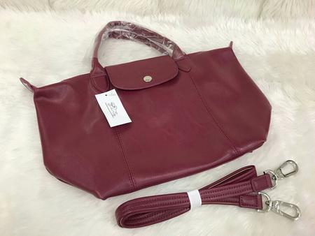 Longchamp Le Pliage Cuir Handbag หนังด้าน สีแดงไวน์