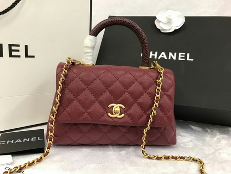 New! Chanel Small Coco  Handle Bag  caviar lizard handle สีแดง หูหิ้วหนังจิ้กจกค่ะ 9.8 inch