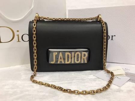 J'ADIOR FLAP BAG WITH CHAIN IN BLACK CALFSKIN