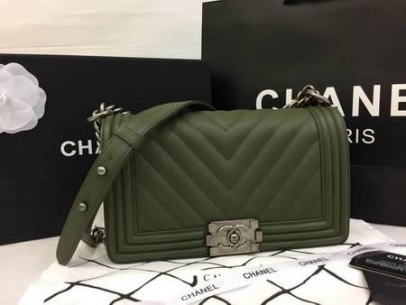 Boy Chanel Handbag Calfskin Top Mirror Image 7 stars สีเขียวขี้ม้าอะไหล่เงิน 9.8 นิ้ว