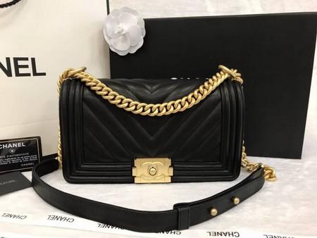 Boy Chanel Handbag Calfskin Gold Matal  in Black 9.8 inch