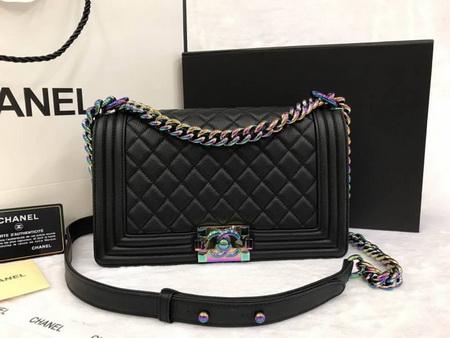 Chanel Rainbow Iridescent Goatskin Boy Bag Medium 9.8 inch สีดำอะไหล่สีรุ้ง