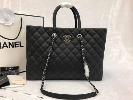 Chanel Large Shopping Tote Bag สีดำหนังคาร์เวียร์ 14 นิ้ว
