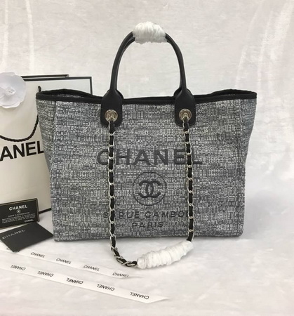 Chanel 2018 Limited Edition Deauville Medium Shopping Tote Bag Charcoal Tweed