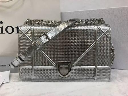 Dior Silver Cannage Pattern Diorama Flap Bag