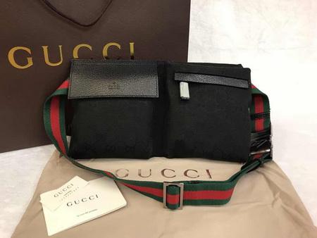 Gucci Belt bag mirror image 7 stars สีดำ สายสีเขียวแดง งานเกรดดีที่สุดค่ะ