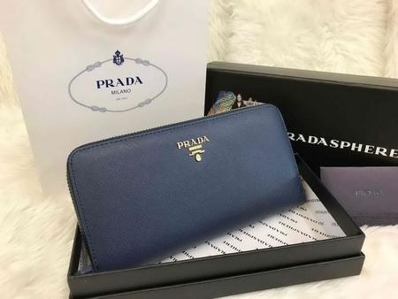 Prada Saffiano Zip-Around Wallet สีน้ำเงิน