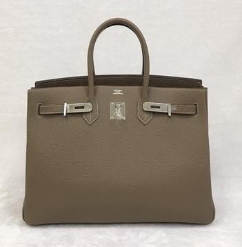 Hermes Birkins 35 in Etoupe สีเทาอมน้ำตาล อะไหล่เงิน Togo leather