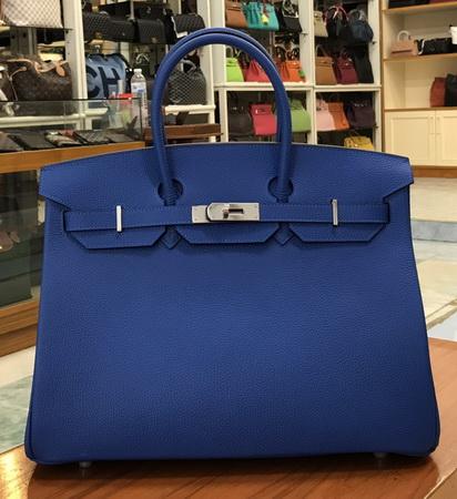 Hermes Birkins 35 cm Bleu Electric สีน้ำเงินอะไหล่เงิน Togo leather  Top mirror image 7 stars