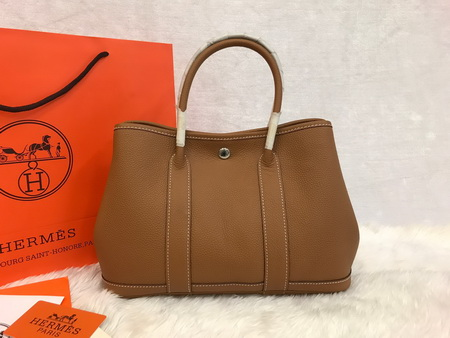 Hermes Garden Party 30cm Togo Leather สีน้ำตาลทอง Gold Top Mirror Image 7 stars