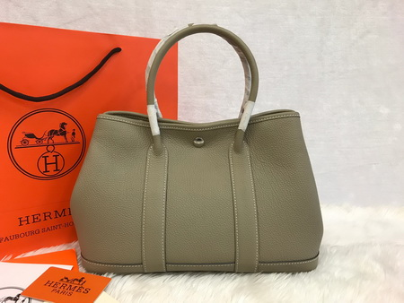 Hermes Garden Party 30cm Togo Leather สีเทา  Top Mirror Image 7 stars