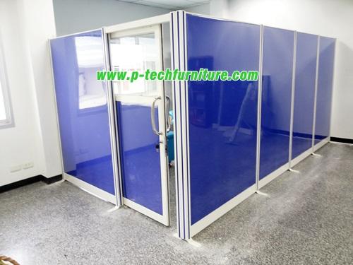 พาร์ทิชั่นประตูบานเลื่อนทึบประตูครึ่งกระจกใส