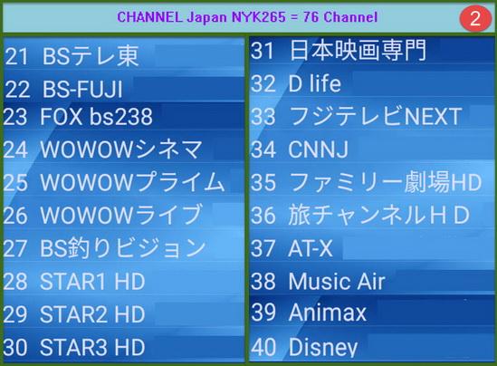 IPTV Japan MYK H265 + VOD = 76 Ch รายการชัดเจนมาก เหมาะสำหรับพืนที่ที่ internet มีความเร็ว 2
