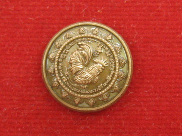 เหรียญไก่ฟ้ามหาลาภเม็ดกระดุม รุ่นอายุวัฒนมงคล ปี55 หลวงปู่สรวง วัดถ้ำพรหมสวัสดิ์ เนื้อทองแดงรมซาติน