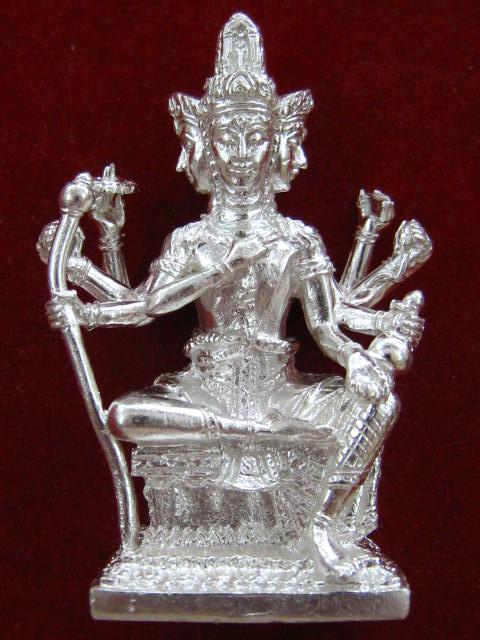 พระพรหมหล่อรุ่นแรก หลวงพ่อชำนาญ วัดบางกุฎีทอง ปทุมธานี เนื้อเงินก้นทองคำ