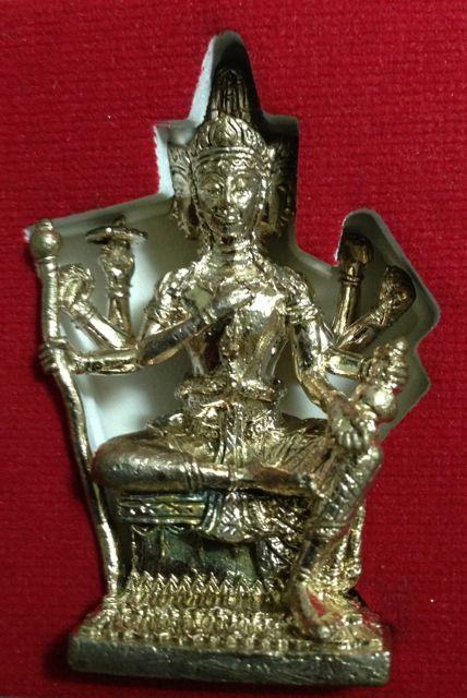 พระพรหมหล่อรุ่นแรก หลวงพ่อชำนาญ วัดบางกุฎีทอง ปทุมธานี เนื้อนวะก้นทองคำ
