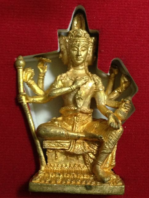 พระพรหมหล่อรุ่นแรก หลวงพ่อชำนาญ วัดบางกุฎีทอง ปทุมธานี เนื้อระฆังก้นนวะ