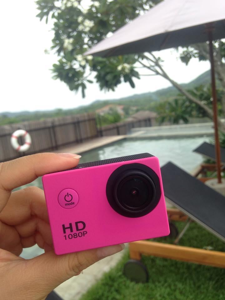 กล้องกันน้ำดิจิตอล สีชมพู HD Camera