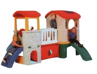 บ้านน้อยสองชั้น บ้านของเล่นเด็ก ของเล่นพลาสติก ของเล่นดีมีสไลด์เดอร์ ปีนป่าย
