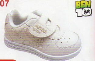 ADDA  BEN10 ULTIMATE ALIEN  รองเท้าผ้าใบเด็กหนัง สีขาว แบบเทป