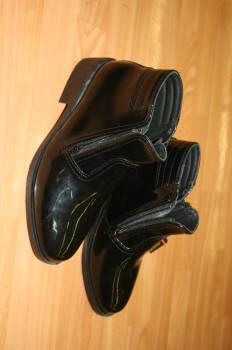 รองเท้าหนังแก้ว คัชชูผู้ชาย สีดำ หนังแก้ว หุ้มข้อ มีซืปรูดด้านข้าง ใส่ทำงานของ ตำรวจ รปภ