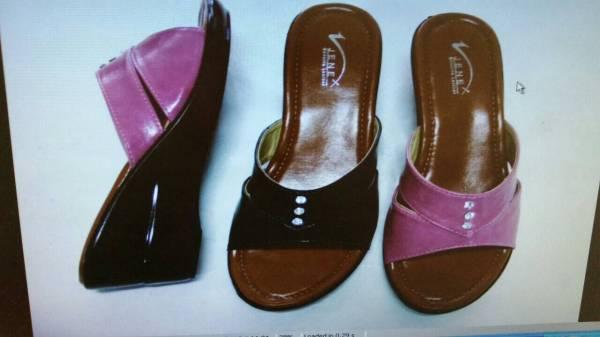 รองเท้าแตะสตรี แฟชั่นส้้นเตารีด สีชมพู สีน้้ำตาล