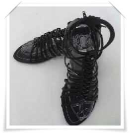 รองเท้าแฟชั่น สไตล์ หุ้มข้อ สาน มีซิปรูดด้านหลัง สีดำ