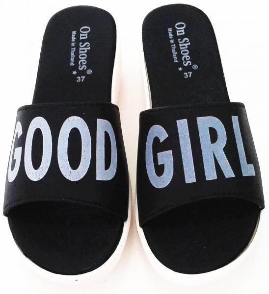 รองเท้าแตะสวมสตรีแฟชั่น ส้นเตารีดยาง สีดำ GOOD GIRL