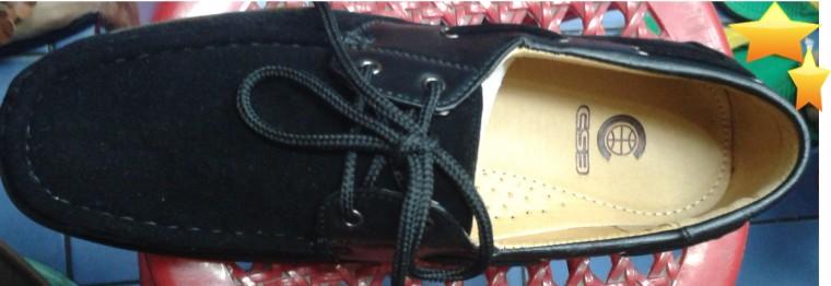 รองเท้าคัชชู สตรี สำหรับทอมใส่ ผูกเชือก หนังกลับ สีดำ