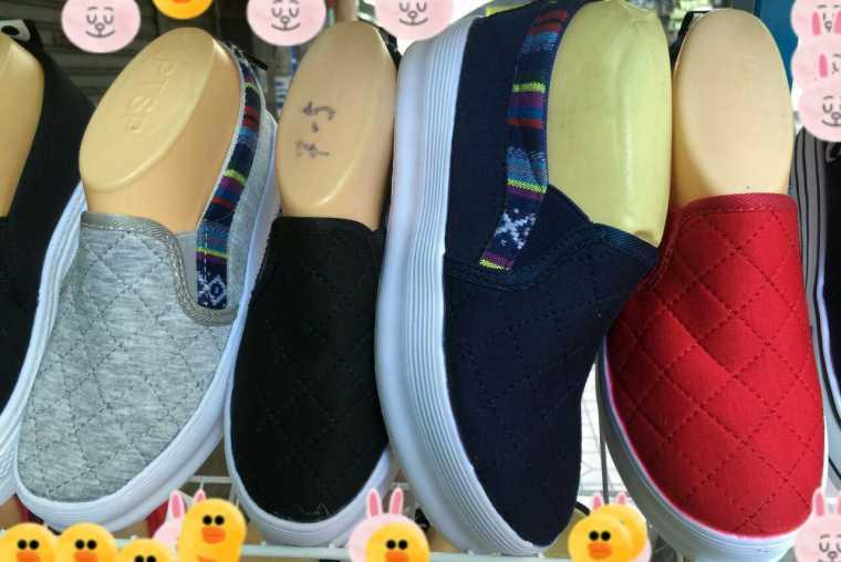 รองเท้าผ้าใบเสริมส้น สไตล์เกาหลี ไม่ผูกเชือก ผู้หญิง หัวกลม