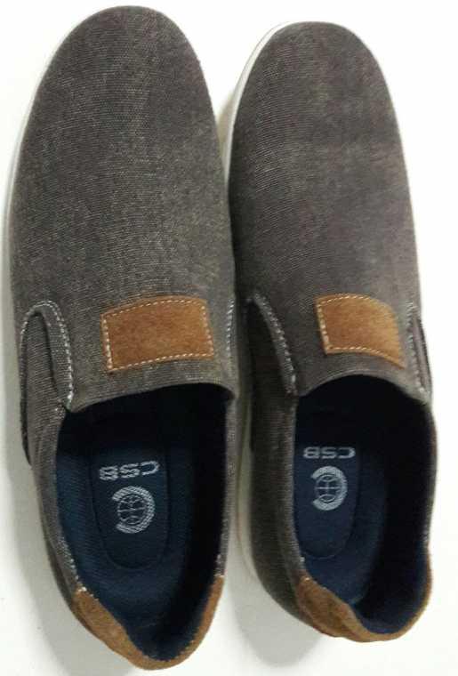 รองเท้าผ้าใบแฟชั่น  ผ้ายีนส์ สีเทา ไม่ผูกเชือกผู้ชาย