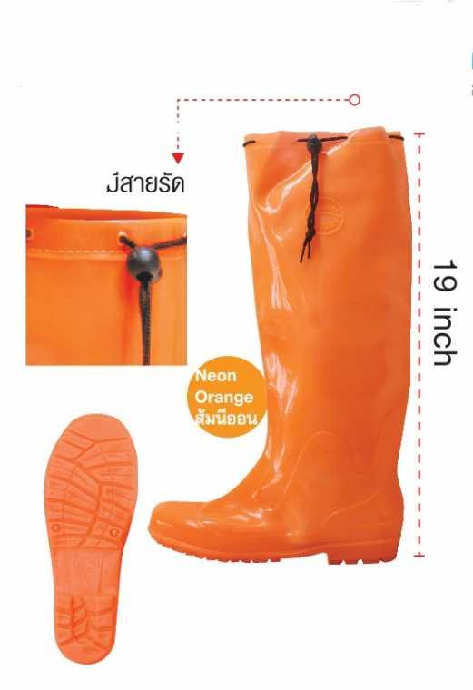 รองเท้าบู๊ต สีส้มนีออน ยี่ห้อเรดแอปเปิ้ล มีสายรัด สูง 19 นิ้ว รุ่น 3c19