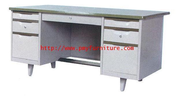 pmy7-5 โต๊ทำงานเหล็ก 7 ลิ้นชัก กุญแจล็อคอิสระ หน้ายางขอบ  PVC ขนาด 4.5 ฟุต